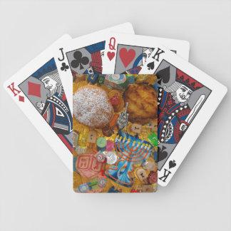 Gelt, Dreidels, Menorah, Sufganiot, & Latke Bicycle Playing Cards