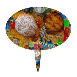Gelt, Dreidels, Menorah, Sufganiot, & Latke Cake Toppers