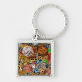 Gelt, Dreidels, Menorah, Sufganiot, & Latke Silver-Colored Square Keychain