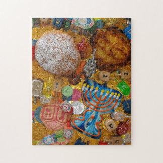 Gelt, Dreidels, Menorah, Sufganiot, y Latke Puzzle Con Fotos