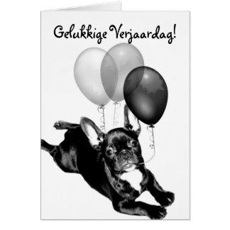 Gelukkige Verjaardag French Bulldog greeting card