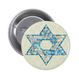 Gem decorated Star of David Pinback Button