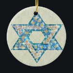 """Gem decorated Star of David Ceramic Ornament<br><div class=""""desc"""">Art drawn to resemble gems and sparklies fill in the shape of the Star of David to make this a very special gift for yourself or friends and family this Hanukkah.</div>"""