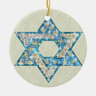 Gem decorated Star of David Ceramic Ornament