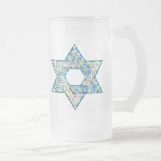 Gem decorated Star of David Frosted Glass Beer Mug