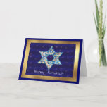 """Gem decorated Star of David Holiday Card<br><div class=""""desc"""">Gems and sparklies filling in the shape of the Star of David make this a very special gift for yourself or friends and family this Hanukkah.</div>"""