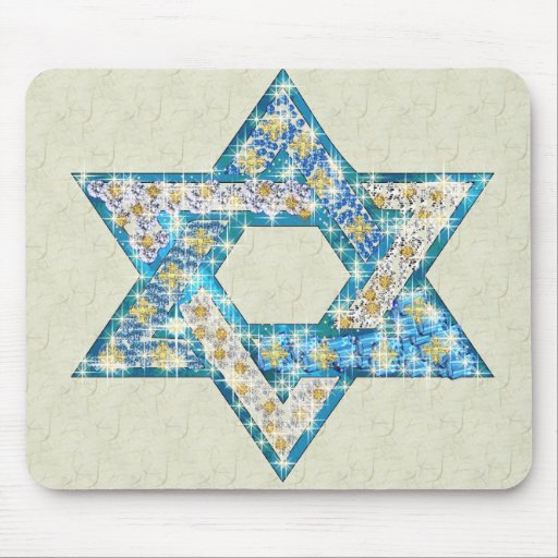 Gem decorated Star of David Mouse Pads