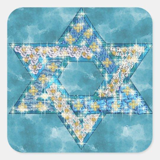 Gem decorated Star of David Square Sticker