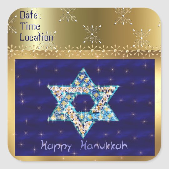 Gem decorated Star of David Square Sticker