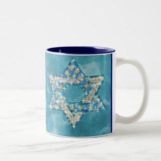 Gem decorated Star of David Two-Tone Coffee Mug