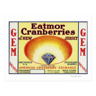 Gem Eatmor Cranberries Brand Label Postcard