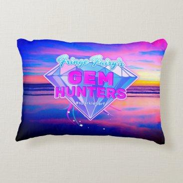 Beach Themed Gem Hunters Logo Decorative Pillow