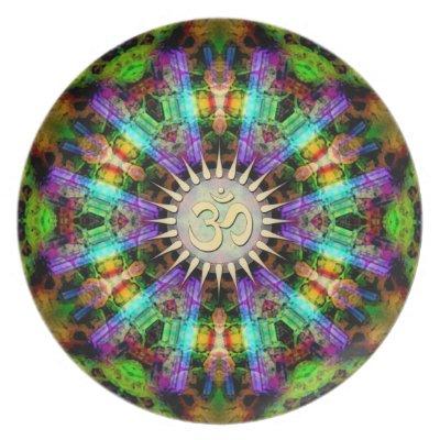 Gem Mandala Golden Aum Spiritual Art Plate plate
