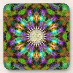 Gem Mandala Golden Aum Spiritual Art : Set of Six Beverage Coaster