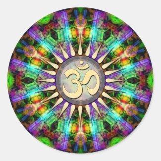 Gem Mandala Golden Aum Spiritual Art Sticker