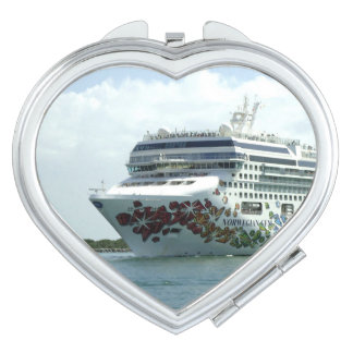 Gem Studded Bow Heart Shaped Mirror For Makeup