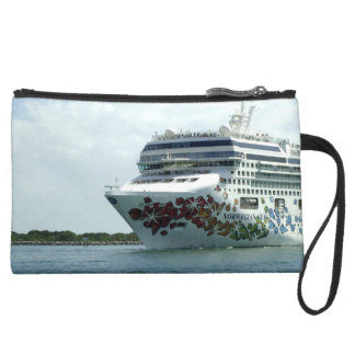 Gem Studded Bow Sailing in to Port Suede Wristlet