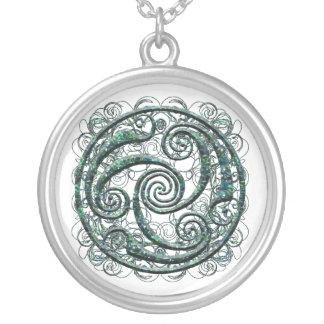 Gem Triskel Silver Plated Necklace