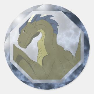Gema amarilla y azul fresca del dragón pegatina redonda