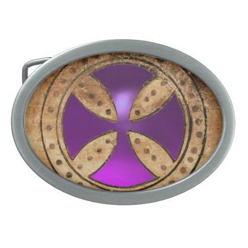 Gema Amethyst púrpura CRUZADA ANTIGUA de TEMPLAR Hebillas De Cinturon