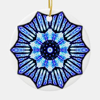 Gema azul adorno navideño redondo de cerámica