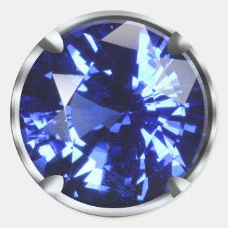 Gema azul brillante etiqueta redonda