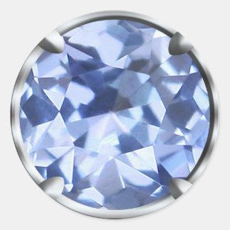 Gema azul clara etiqueta redonda