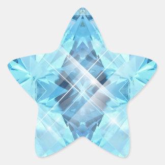 Gema azul calcomania forma de estrella personalizada