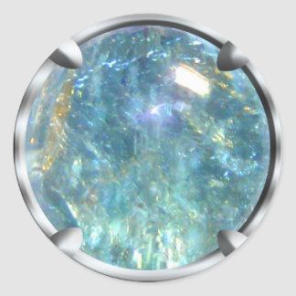 Gema de cristal azul etiqueta redonda