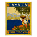 Gema de Jamaica del viaje del vintage de las zonas Posters