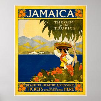 Gema de Jamaica del viaje del vintage de las zonas Póster