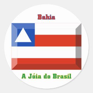 Gema de la bandera de Bahía Pegatina Redonda