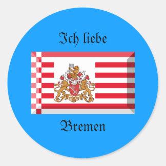 Gema de la bandera de Bremen Etiqueta Redonda