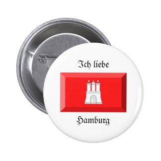 Gema de la bandera de Hamburgo Pin Redondo 5 Cm