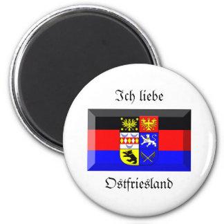 Gema de la bandera de Ostfriesland Imán Redondo 5 Cm
