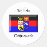 Gema de la bandera de Ostfriesland Pegatina Redonda