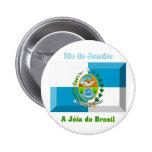 Gema de la bandera de Río de Janeiro Pin Redondo 5 Cm