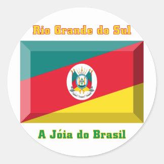 Gema de la bandera de Río Grande del Sur Pegatina Redonda