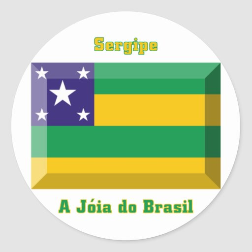 Gema de la bandera de Sergipe Pegatina Redonda