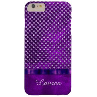 Gema de la plata de la púrpura real personalizada funda para iPhone 6 plus barely there