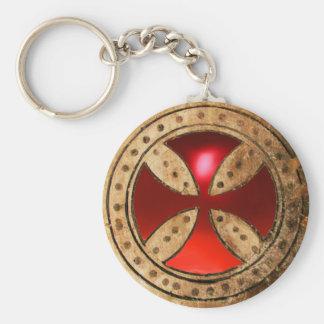 Gema de rubíes roja CRUZADA ANTIGUA de TEMPLAR Llaveros Personalizados