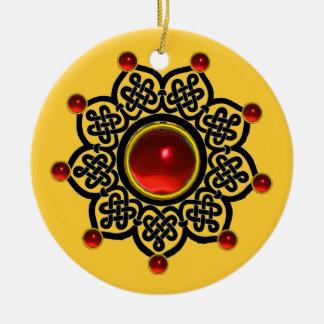 Gema de rubíes roja del SOL GÓTICO, amarilla Adorno Redondo De Cerámica