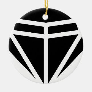 Gema del diamante adorno navideño redondo de cerámica