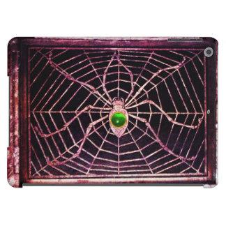 Gema esmeralda verde de la ARAÑA Y del WEB, negra