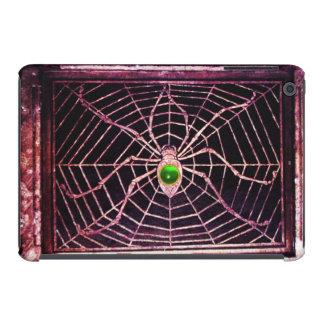 Gema esmeralda verde de la ARAÑA Y del WEB, negra Fundas De iPad Mini