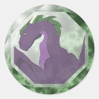 Gema fresca del dragón púrpura y verde pegatina redonda