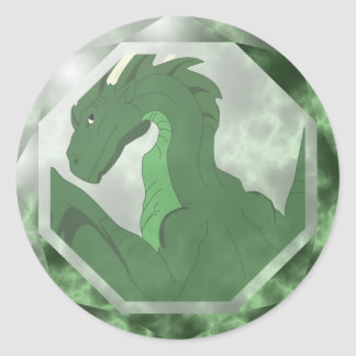 Gema fresca del dragón verde y verde pegatina redonda