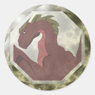 Gema roja y amarilla fresca del dragón pegatina redonda