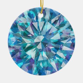 Gema tallada con los azules y las púrpuras adorno navideño redondo de cerámica