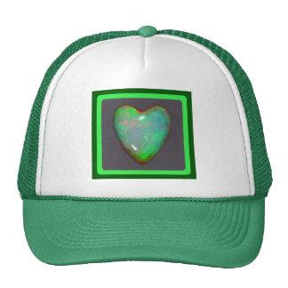 Gema verde de octubre del corazón del ópalo de fue gorros bordados